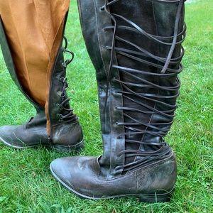 Free people brown boho below the knee boot